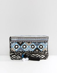 Oasis Fabric Fold Over Clutch Bag Multi Blue