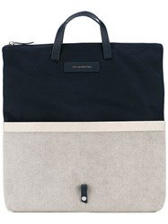 Want Les Essentiels De La Vie Peretola Foldable Tote Men Cotton Leather Metal One Size Blue