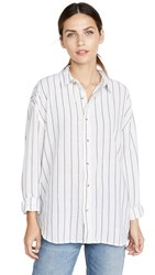 Rolla's Slouch Stripe Shirt White Charcoal