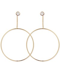 Guess Gold Tone Crystal And Snake Chain Drop Hoop Earrings