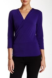 Ellen Tracy 3 4 Length Sleeve Wrap Blouse Purple