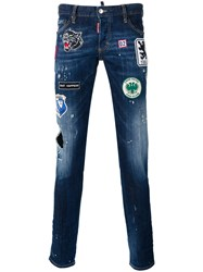 Dsquared2 Distressed Patch Jeans Blue