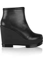 Robert Clergerie Sarla Leather Wedge Ankle Boots Black