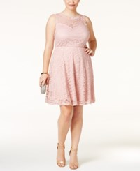 Love Squared Trendy Plus Size Lace Fit And Flare Dress Blush