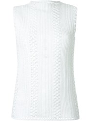 Le Ciel Bleu Crochet Tank Top White