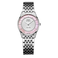 Rotary Women's Les Originales Ultra Slim Bracelet Strap Watch Silver Pink
