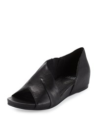 Eileen Fisher Code Leather Demi Wedge Sandal Black