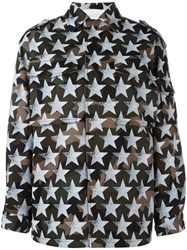 Valentino Star Print Military Jacket White