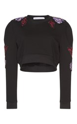 Francesco Scognamiglio Embroidered Long Sleeve Cropped Top Black