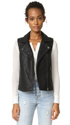 Cupcakes And Cashmere Bailey Vegan Leather Biker Vest Black