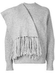 Sacai Scarf Embellished Jumper Grey