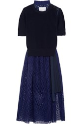 Sacai Knitted And Broderie Anglaise Cotton Midi Dress Navy