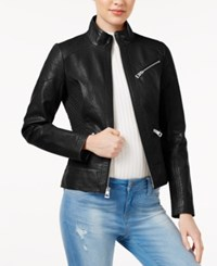 Guess Ribbed Faux Leather Jacket Black