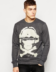 Solid Solid Sweatshirt With Skull And Crossbones Print Black