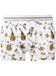 Dolce And Gabbana Underwear Instruments Print Boxers White