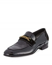 Tom Ford Patent Leather Chain Link Loafer Black