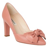 Lk Bennett L.K. Isla Bow Pointed Toe Court Shoes Dark Pink