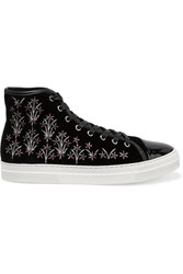 Mother Of Pearl Leather Trimmed Embroidered Velvet Sneakers Black