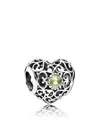 Pandora Design Pandora Charm Sterling Silver And Peridot August Signature Heart