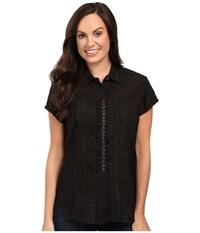 Scully Honey Creek Lace Cap Sleeve Top W Flirty Snap Front Black Clothing