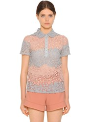 Red Valentino Patchwork Cotton Macrame Lace Polo Shirt