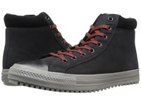 Converse Chuck Taylor All Star Boot Pc Coated Leather Hi Black Charcoal Grey Signal Red Men's Lace Up Boots