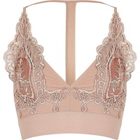 River Island Womens Petite Blush Pink Lace T Back Bralet