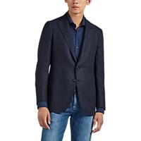 Isaia Dustin Linen Two Button Sportcoat Navy