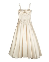 Zoe Long Pleated Gown W Bow Cream Size 7 14 White