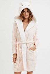 Forever 21 Plush Hamster Graphic Hooded Robe Peach Cream