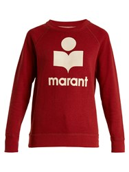 Etoile Isabel Marant Milly Logo Applique Cotton Blend Sweatshirt Red