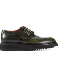 Kris Van Assche Ridged Sole Buckled Derby Shoes Green