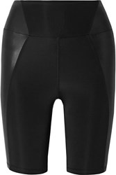 Heroine Sport Biker Paneled Stretch Shorts Black