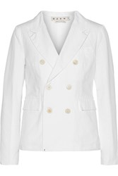Marni Cotton And Linen Blend Twill Blazer White
