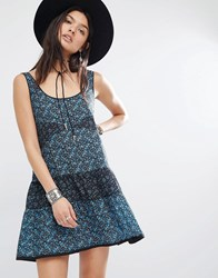 Mango Printed Tiered Dress Blue Mix