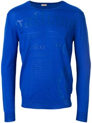 John Galliano Logo Print Jumper Blue