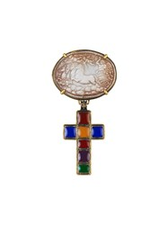 Gucci Brooch With Cross And Cameo Gold