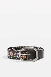 Topshop Chain Embroidered Floral Belt Black