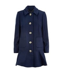 Juicy Couture Peplum Coat Navy