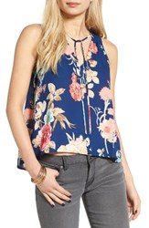 Lush Women's Tie Neck Tank Navy Blush Taupe Floral