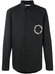 Givenchy Floral Crown Embroidered Shirt Men Cotton Polyester 42 Black