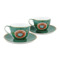 Pip Studio Spring To Life Cup And Saucers Set Of 2 Green
