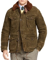 Polo Ralph Lauren Shearling Suede Combat Jacket Hunter Olive