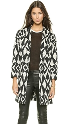 Alice Olivia Emett Cocoon Coat Black Cream