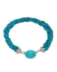 Stephen Dweck Beaded And Carved Turquoise Twist Necklace