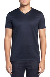 Boss Men's Teal 14 Slim Fit Mercerized Cotton T Shirt Dark Blue