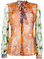 Tory Burch Multi Print Shirt Women Silk 4 Yellow Orange
