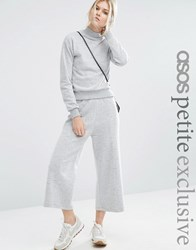 Asos Petite Fluffy Sweat Culotte Trouser Co Ord Grey