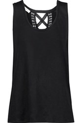 Sandro Teo Cutout Lace Trimmed Linen Top Black