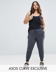 Asos Curve Skinny Jogger With Deep Cuff Slate Grey